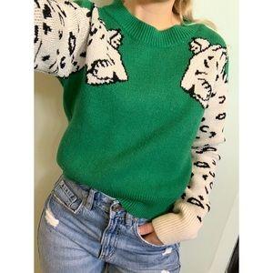 Small, leopard print, green crew neck sweatshirt